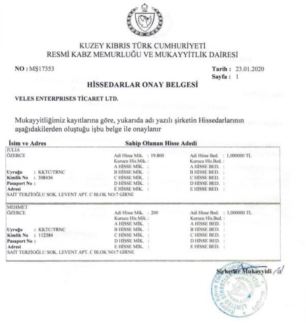 Certificate of distribution of shares of the company