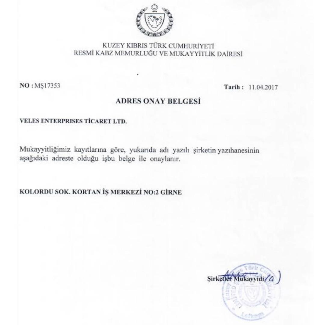 Address Confirmation Certificate