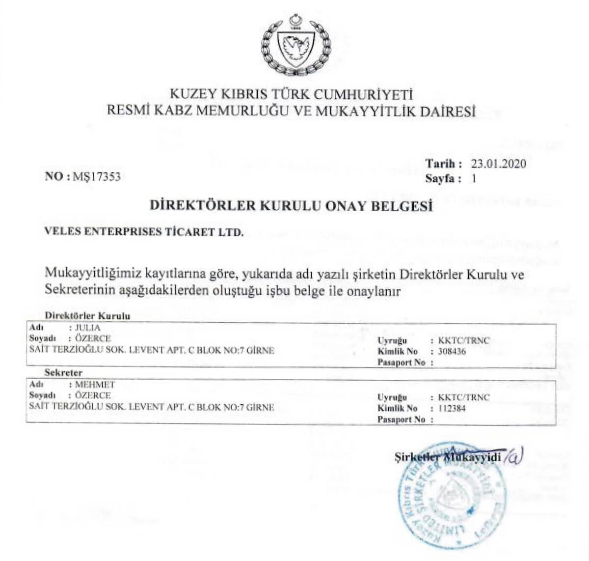 Company Founders Certificate