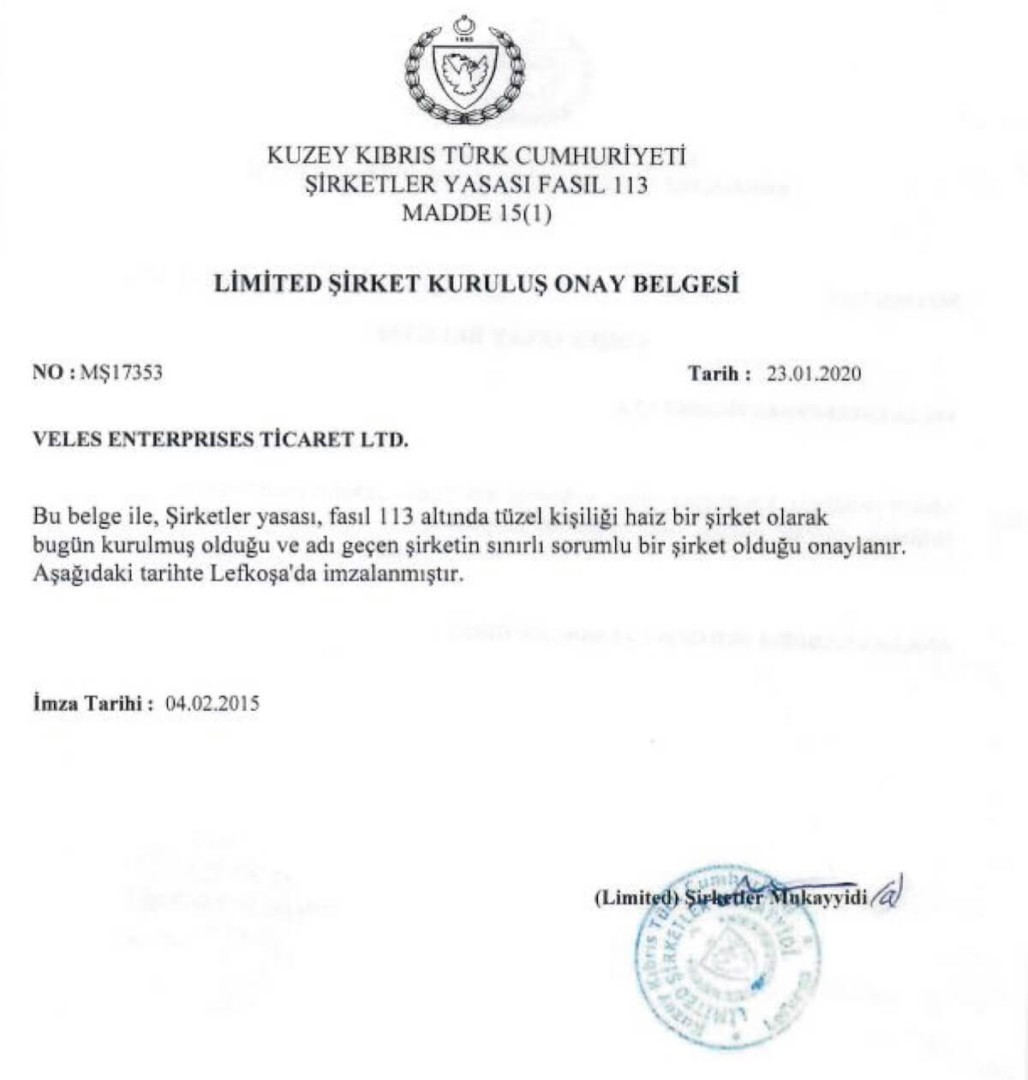 Limited Liability Company Certificate
