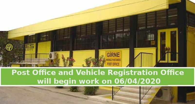The Post Office and the Vehicle Registration Office will begin work on 06/04/2020