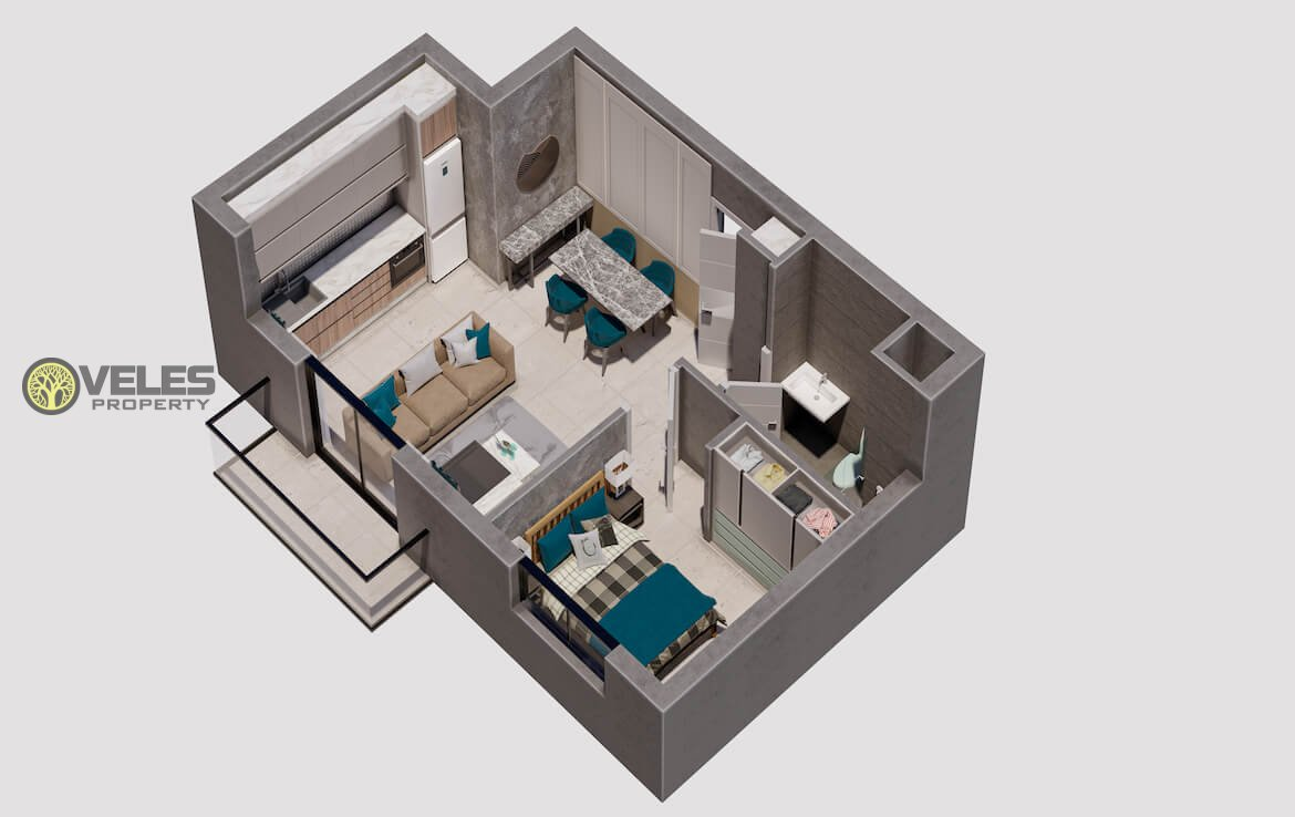 SA-172 SINGLE BEDROOM APARTMENT 350 M FROM THE SEA