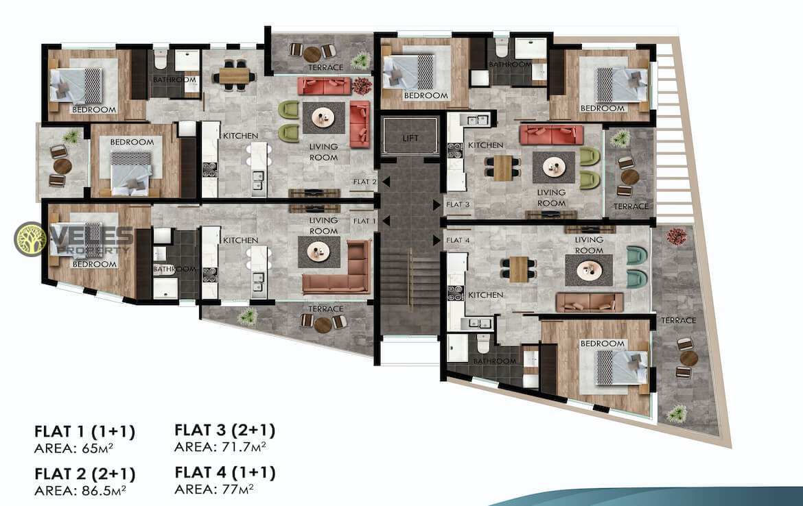 SA-221 TWO BEDROOM APARTMENT IN A DESIGNED HOUSE