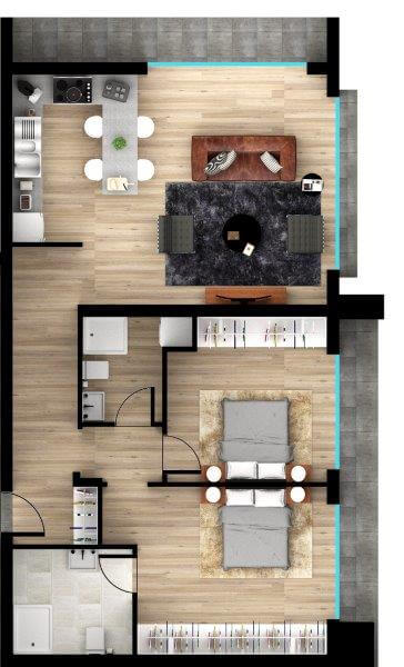 SA-2165 TWO BEDROOM APARTMENT IN A READY HOUSE